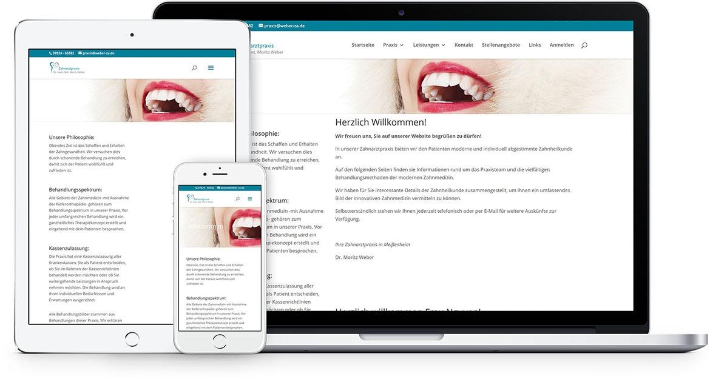 medfit Webdesign - Full-Service-Webagentur aus München für Webdesign, Suchmaschinenoptimierung (SEO) und Online Marketing - Beispielprojekt Zahnarztpraxis Dr. Moritz Weber